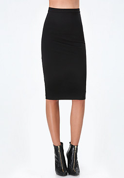 bebe Back Cage Lace Midi Skirt