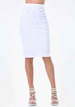 bebe Embroidered Pencil Skirt