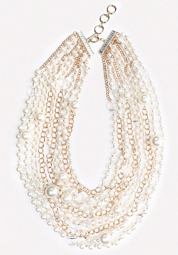bebe Pearlescent Chunky Necklace