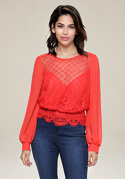 bebe Embroidered Georgette Top