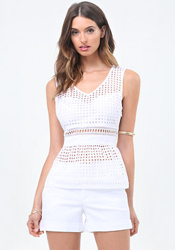 bebe Cotton Eyelet Peplum Top