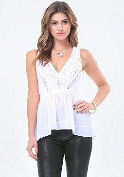 bebe Back Cutout Peplum Top