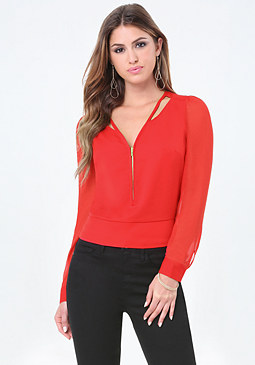 bebe Front Zip Long Sleeve Top