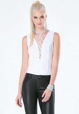 bebe Lace Up Sleeveless Bodysuit