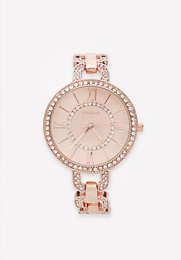 bebe Crystal Chainlink Watch