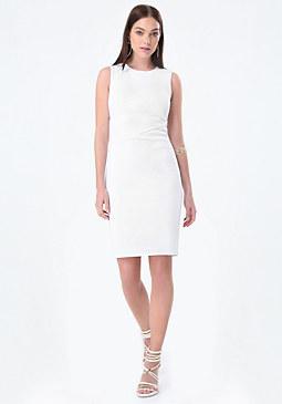 bebe Seamed Textured Dress