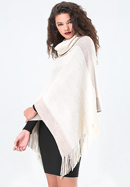 bebe Metallic Striped Poncho