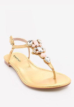 bebe Shaya Jeweled Flat Sandals