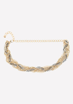 bebe Braided Mix Chain Belt