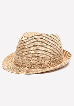 bebe Braid Detail Straw Trilby