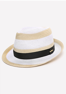 bebe Colorblock Straw Trilby