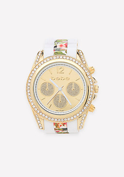bebe Glitter Subdials Link Watch