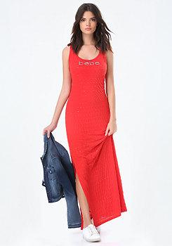 bebe Sequin Stripe Maxi Dress