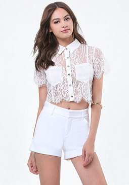 bebe Carrie Lace Crop Shirt