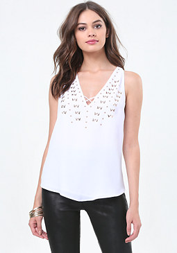 bebe Ava Embellished Top