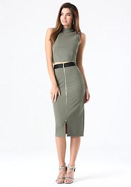 bebe Petite Zip Midi Skirt