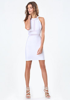 Mesh Inset Bandage Dress