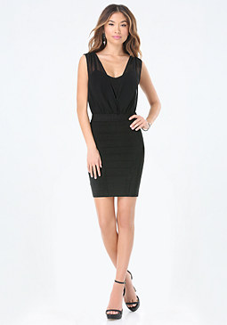 bebe Overlay Bandage Dress