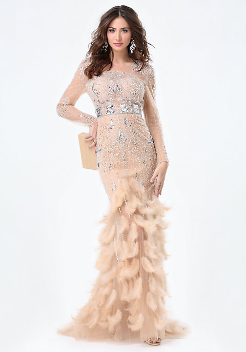 Jewel & Feather Gown | bebe
