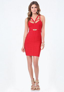 bebe Harness Bandage Dress