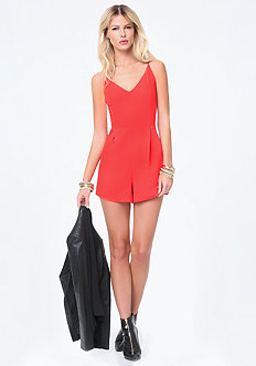 Lace Trim V-Neck Romper
