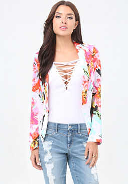 bebe Bloom Print Blazer