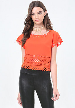 bebe Crepe Laser Cut Top