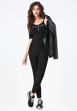 bebe Logo Back Lace Up Catsuit