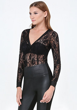 bebe Sheer Lace V-Neck Bodysuit