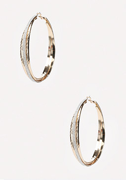 bebe Glitter Hoop Earrings