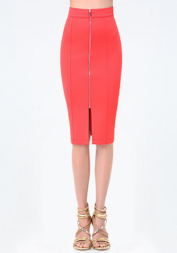 bebe Scuba Zip Pencil Skirt