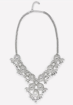bebe Crystal Filigree Necklace