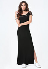 bebe Logo Lace Yoke Maxi Dress