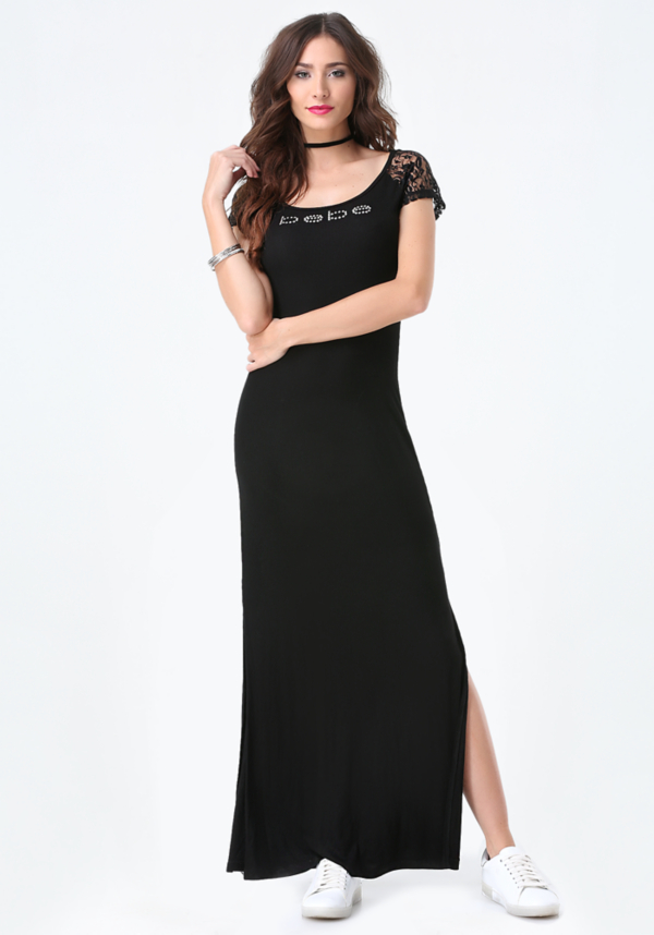 Logo Lace Yoke Maxi Dress at bebe in Sherman Oaks, CA | Tuggl