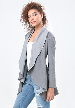 bebe Heathered Ponte Jacket
