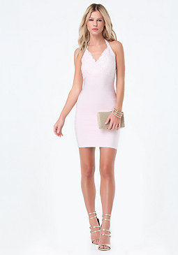 bebe Lace Halter Bandage Dress