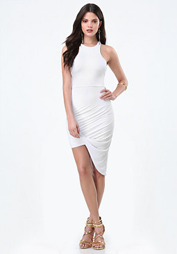 bebe Racerfront Twist Hem Dress