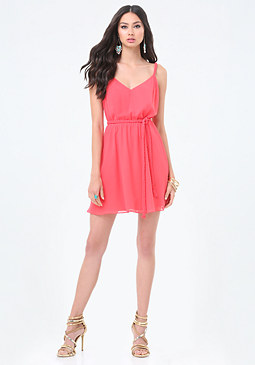 bebe Chiffon Braid Trim Dress
