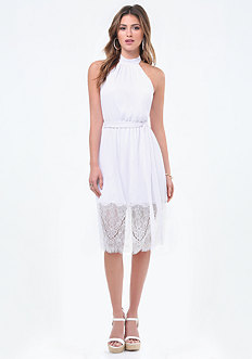 Gauze Lace Hem Halter Dress