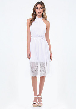 bebe Gauze Lace Hem Halter Dress