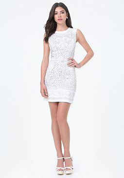 bebe Embellished Crepe Dress