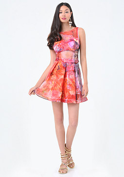 bebe Print Organza 3-Piece Dress