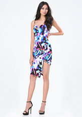 bebe Print Asymmetric Hem Dress