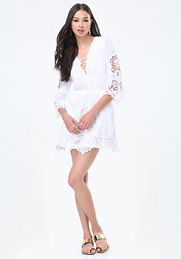 bebe Camilla Voile & Lace Dress