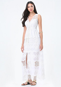 bebe Embroidered Maxi Dress