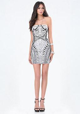 bebe Beaded Strapless Dress