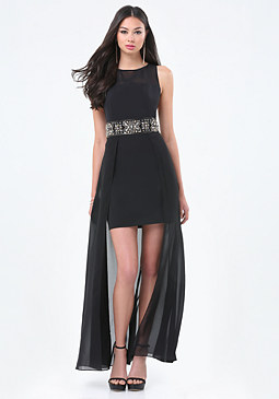 bebe Embellished Waist Dress