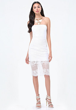 bebe Lace Strapless Dress