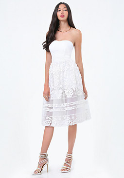 bebe Embroidered Strapless Dress