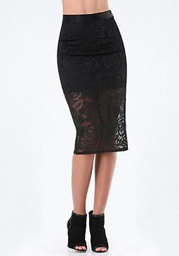 bebe Petite Rose Lace Midi Skirt